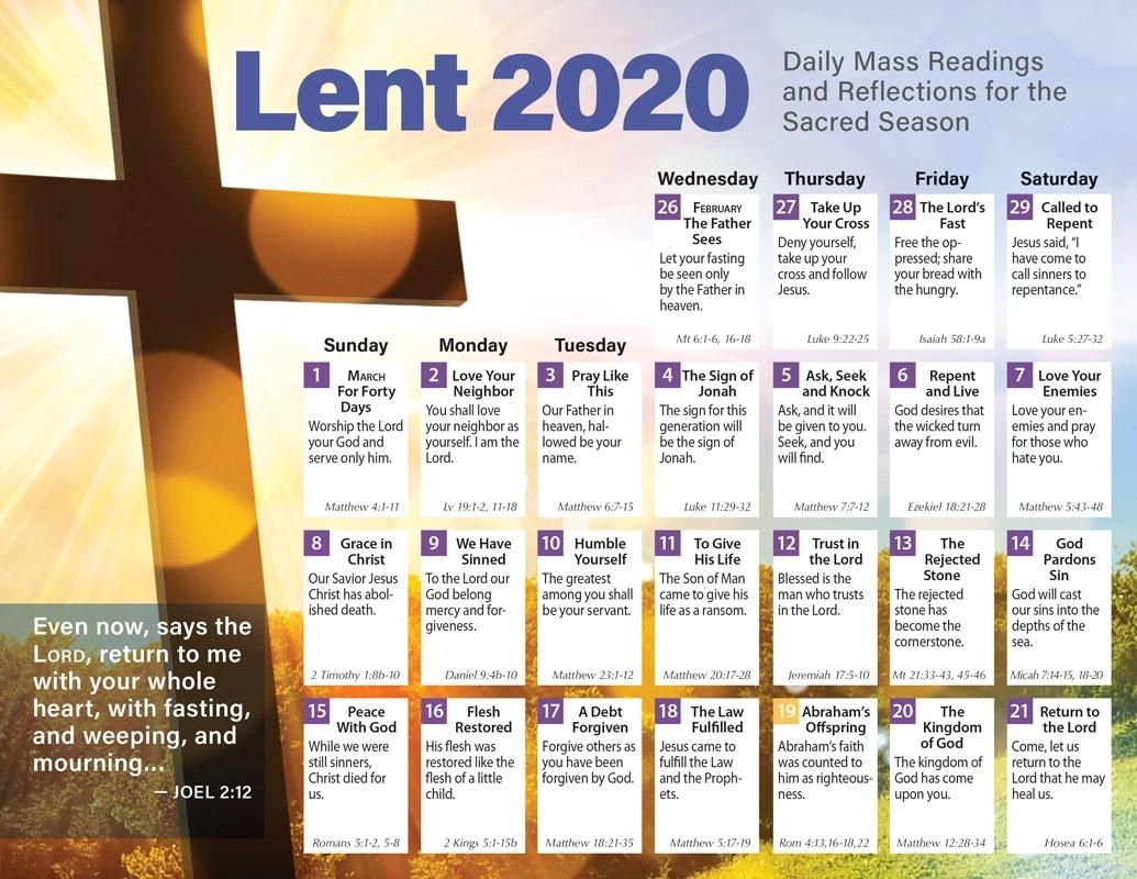 Lent 2020 Catholic Calendar Product/goods : Creative regarding Catholic Liturgical Calendar For Lent 2020