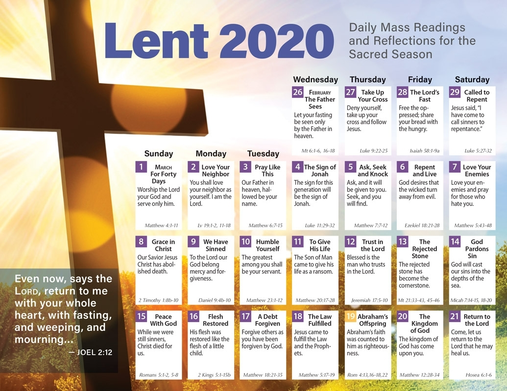 Lent 2020 Catholic Calendar Product/goods : Creative within 2020 Catholic Liturgical Calendar Activities