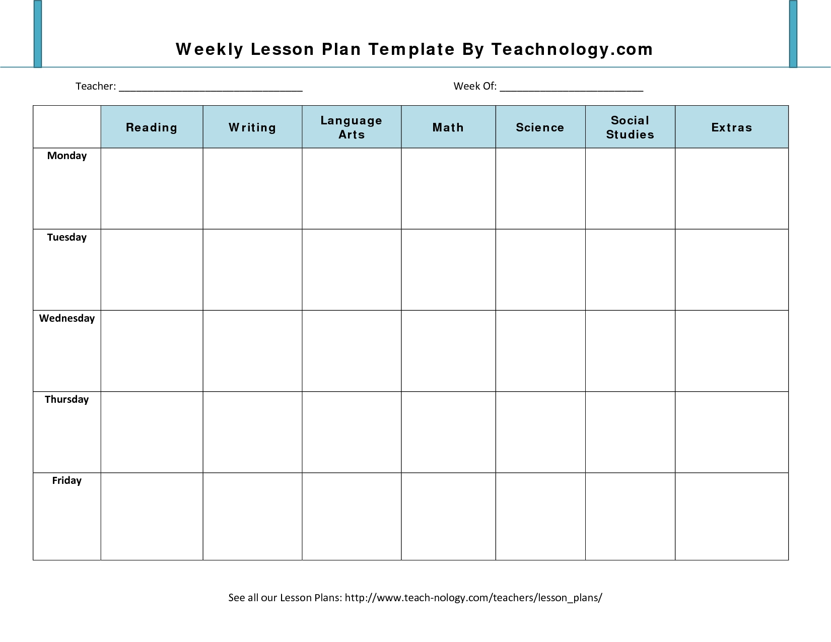 Lesson Plan Format 7 Weekly Lesson Plan Template For with regard to Monthly Lesson Plan Template 2019