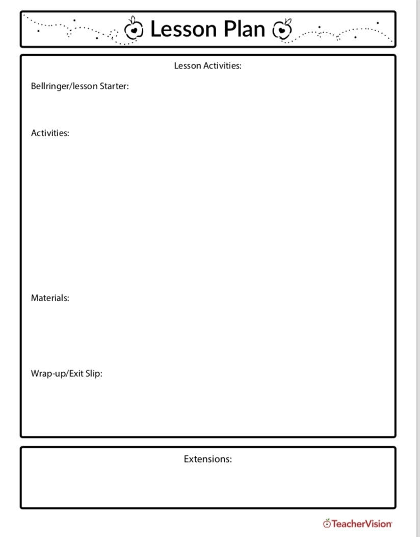 Lesson Planning Template - Teachervision pertaining to Monthly Lesson Plan Template 2019