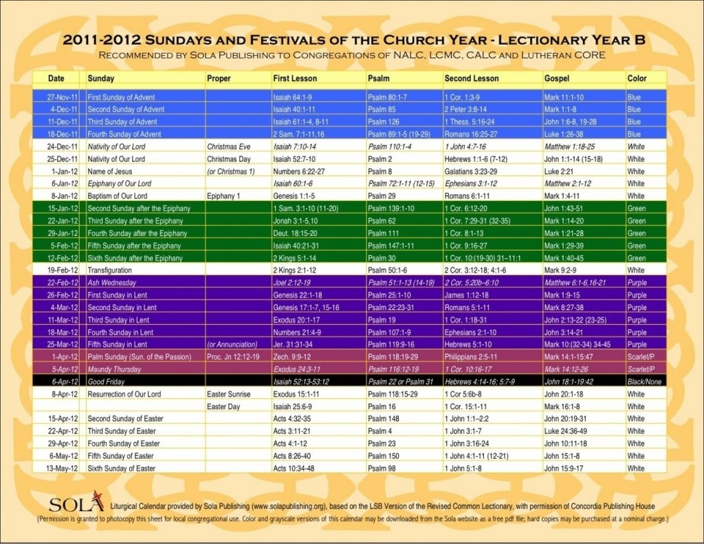 Liturgical Colors 2019 intended for Printable Ame Liturgical Color Calendar 2020
