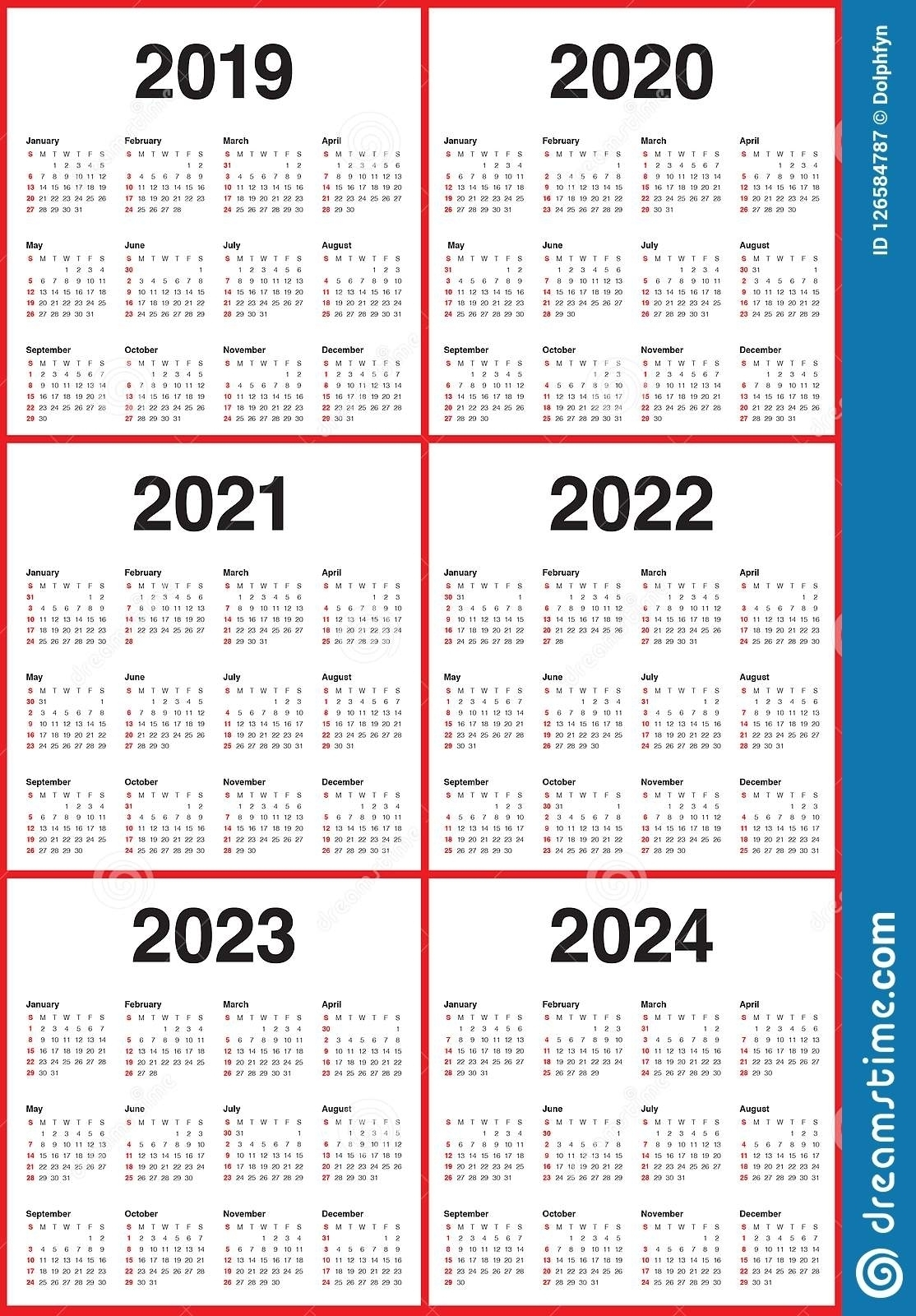 Lovely 3 Year Calendar 2022 To 2024 : Mini Calendar Template for 2019 - 2023 Calendar Printable