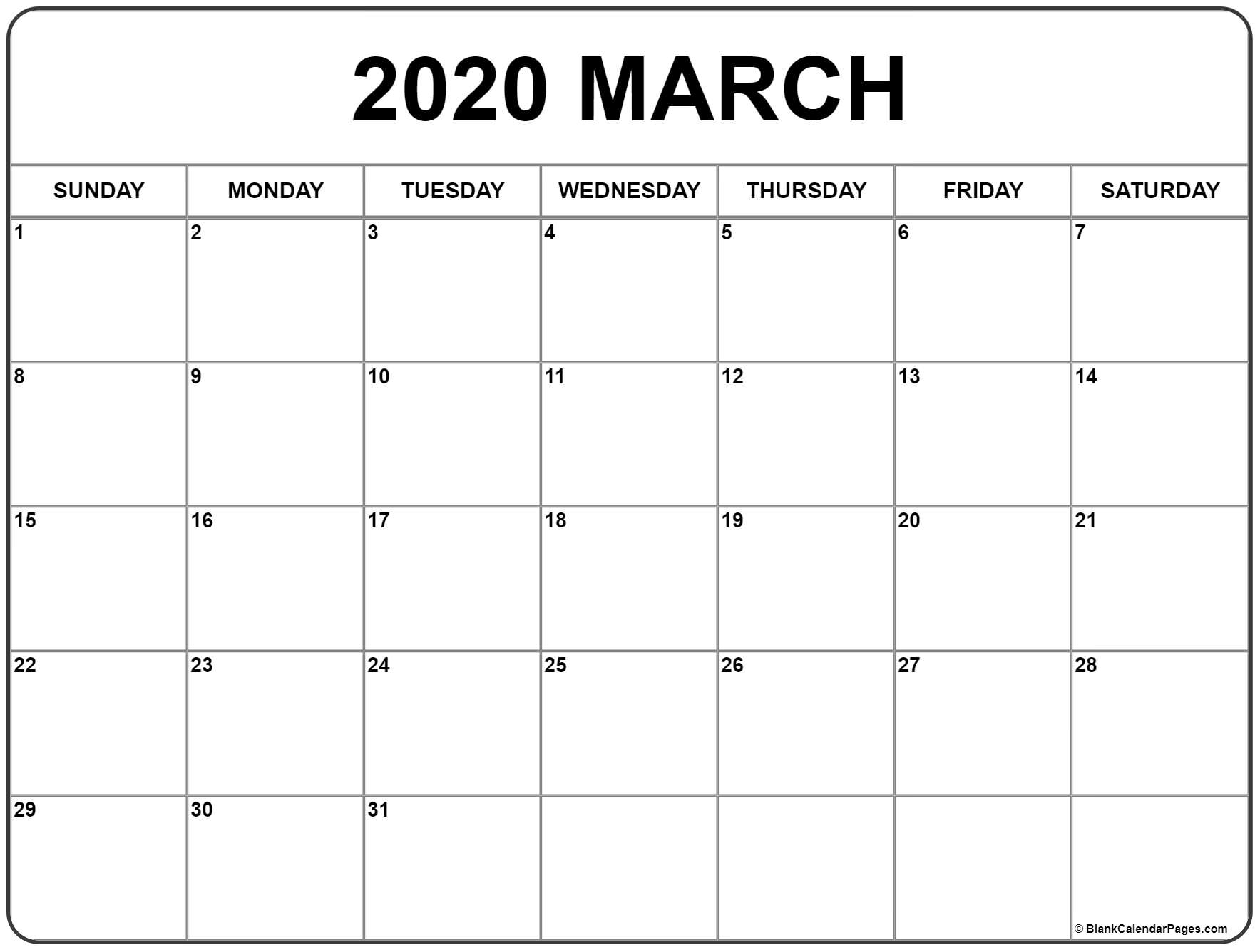 March 2020 Calendar | Free Printable Monthly Calendars intended for Calender 2020 With Space To Write