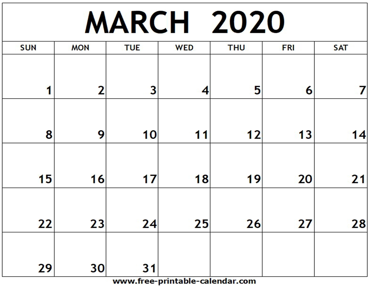 March 2020 Printable Calendar - Free-Printable-Calendar inside Blank Calander 2020 Fill In