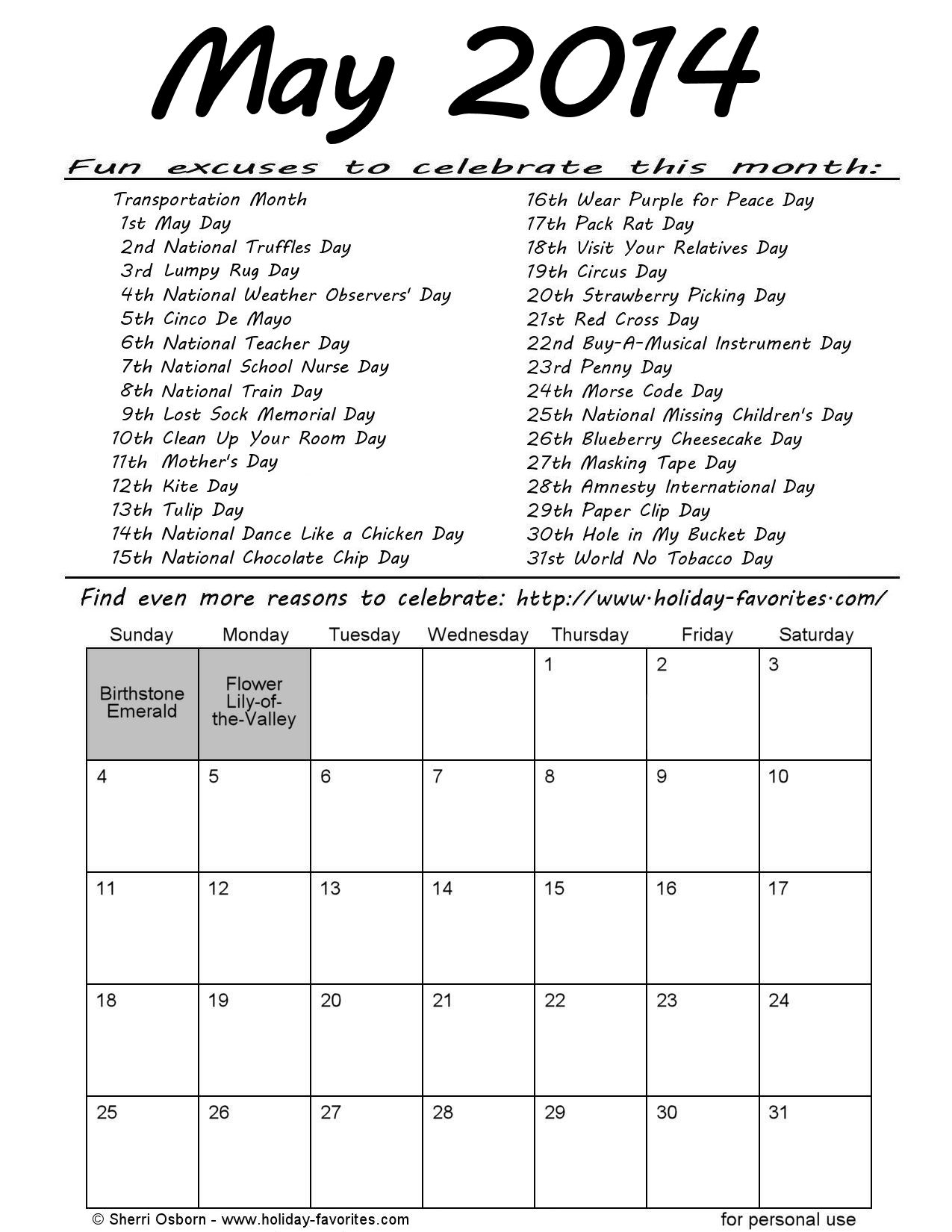 May 2014 Special Days Calendar | Holiday Favorites with regard to Special Days In The Calendar