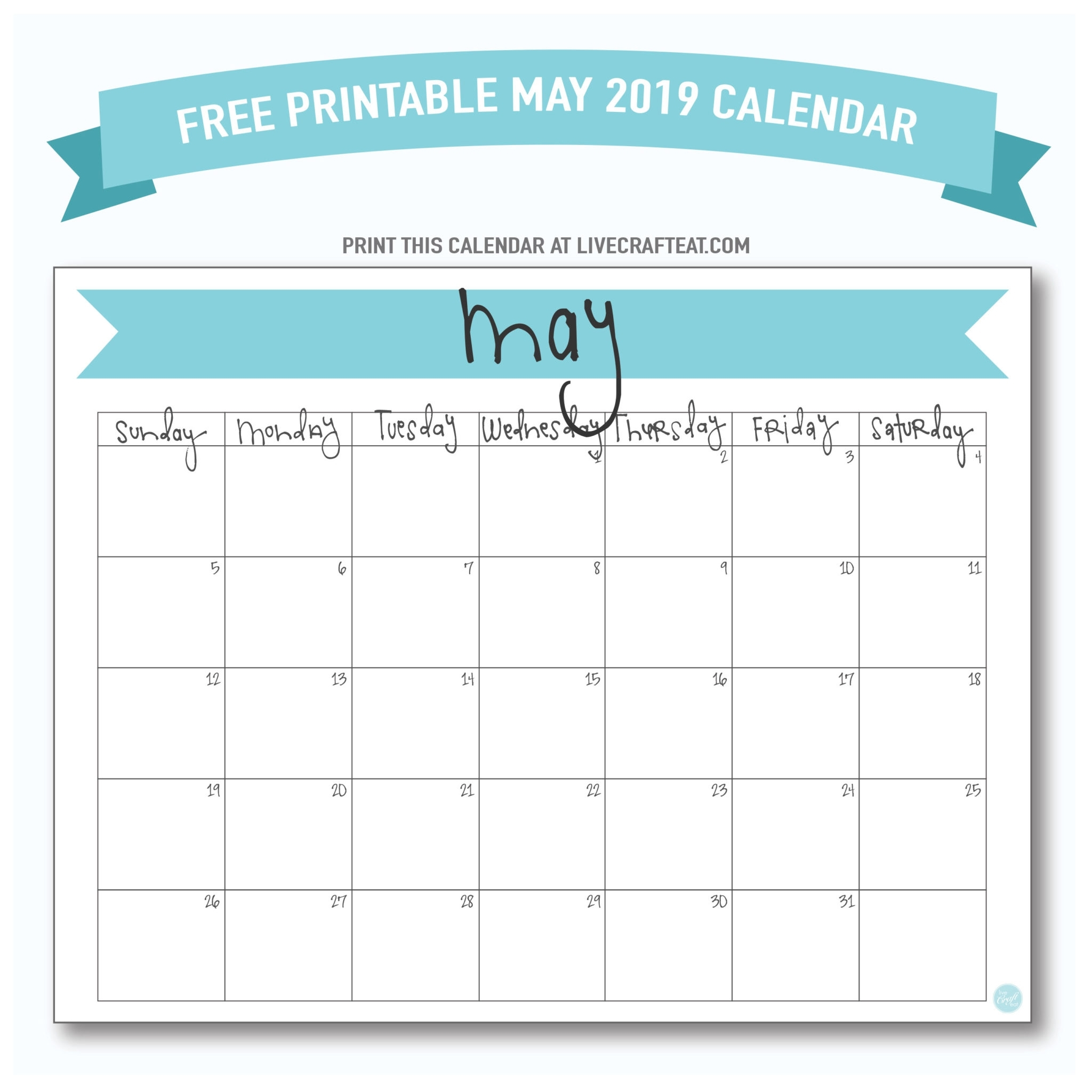 May 2019 Calendar - Free Printable | Live Craft Eat with Free 8.5 X 11 Calendars