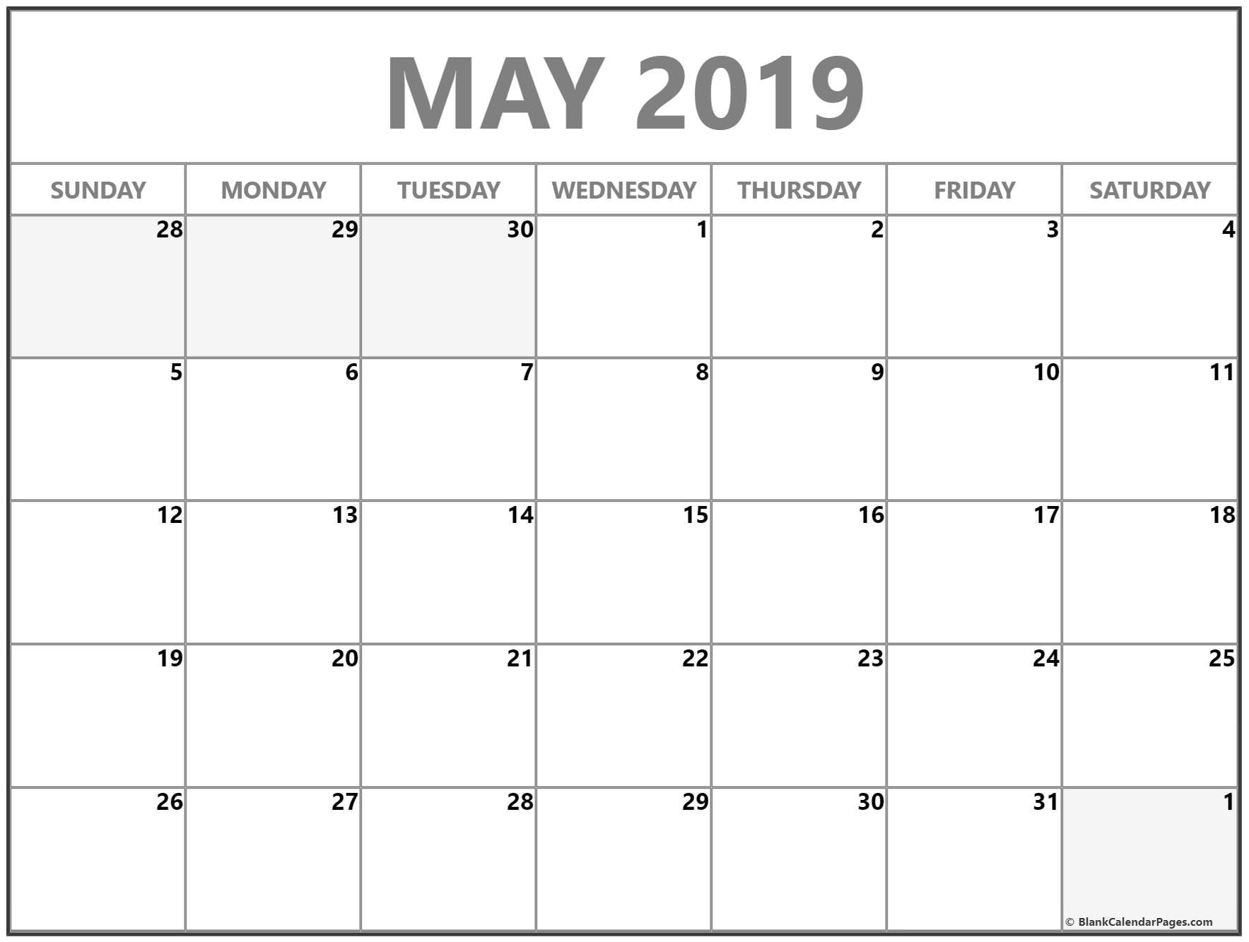 May 2019 Calendar | Free Printable Monthly Calendars within Free Printable Blank Monthly Calendar 2019