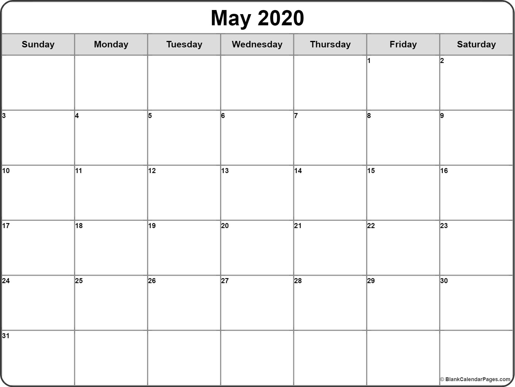 May 2020 Calendar | Free Printable Monthly Calendars with 2020 Calendar With Spaces To Write On Free