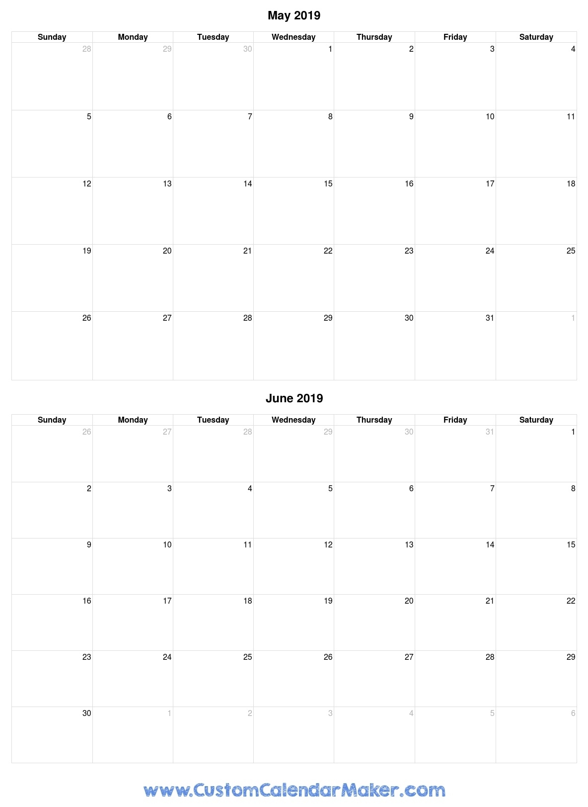May And June 2019 Free Printable Calendar Template with regard to Printable Calendar 2019 With Lines
