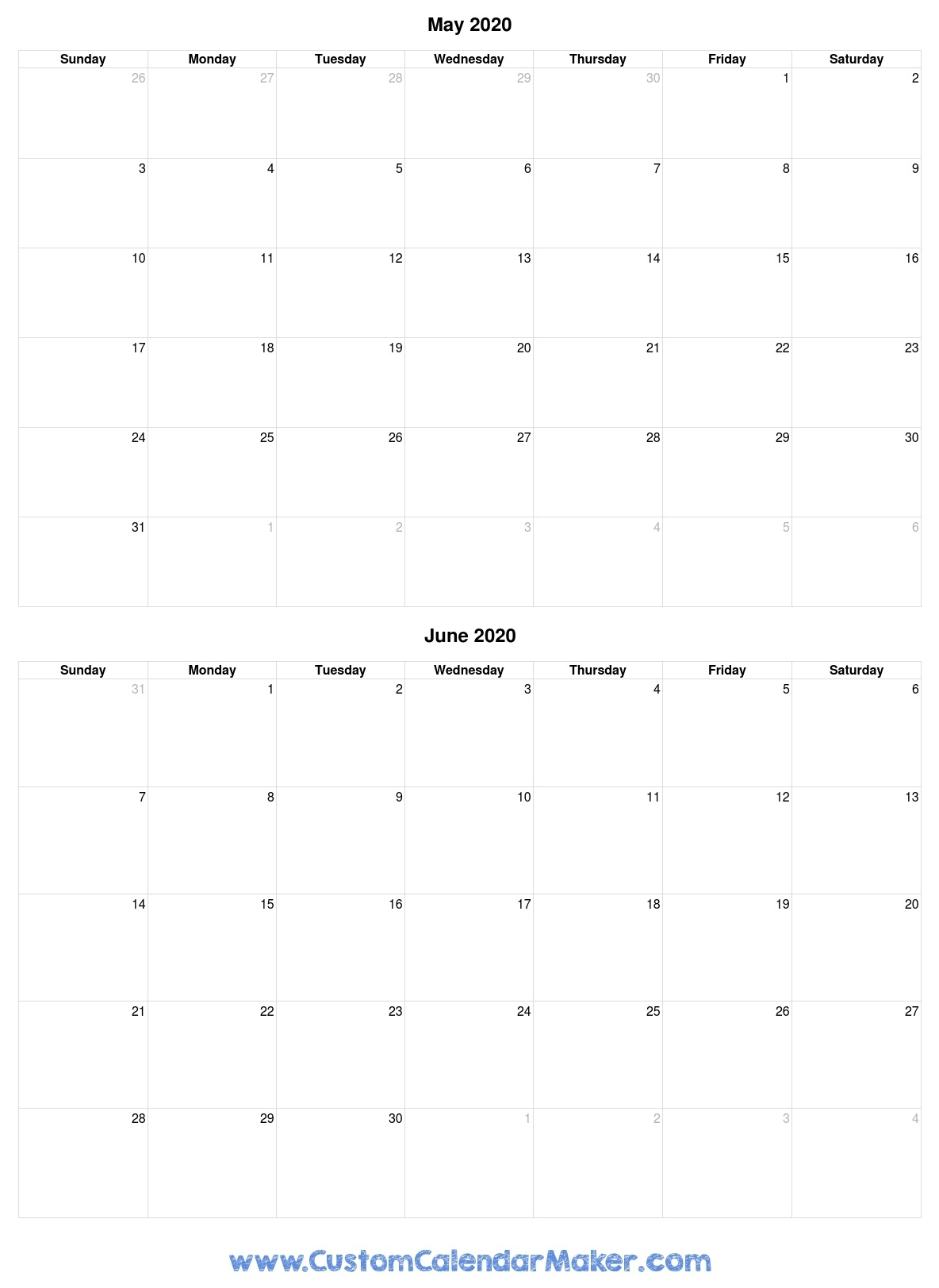 May And June 2020 Free Printable Calendar Template in 2020 Printable Fill In Calendar
