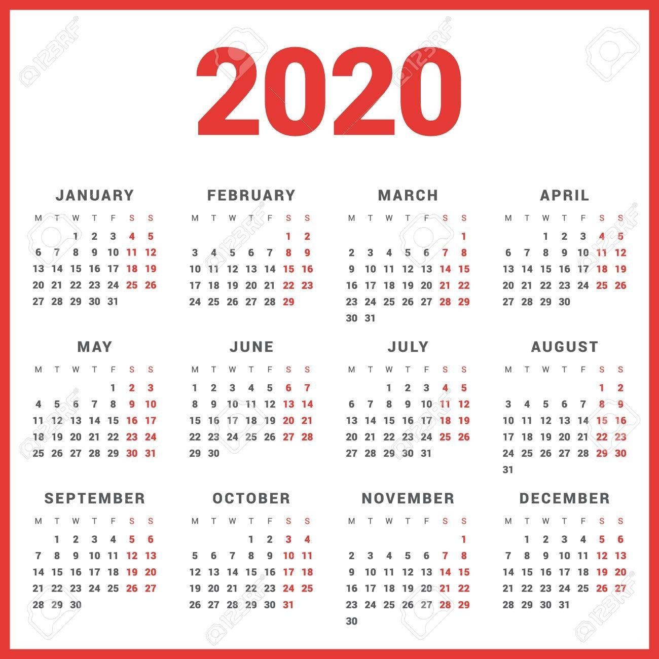 Monday Start Calendar 2020 - Colona.rsd7 for 2020 Calendar Template Monday Sunday