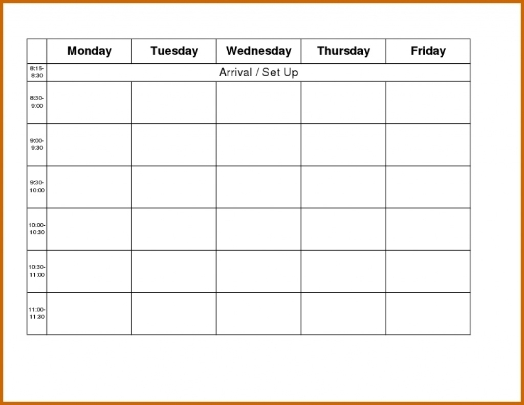 Monday To Friday Schedule Printable - Calendar Inspiration with Blank Monday Through Friday Schedule