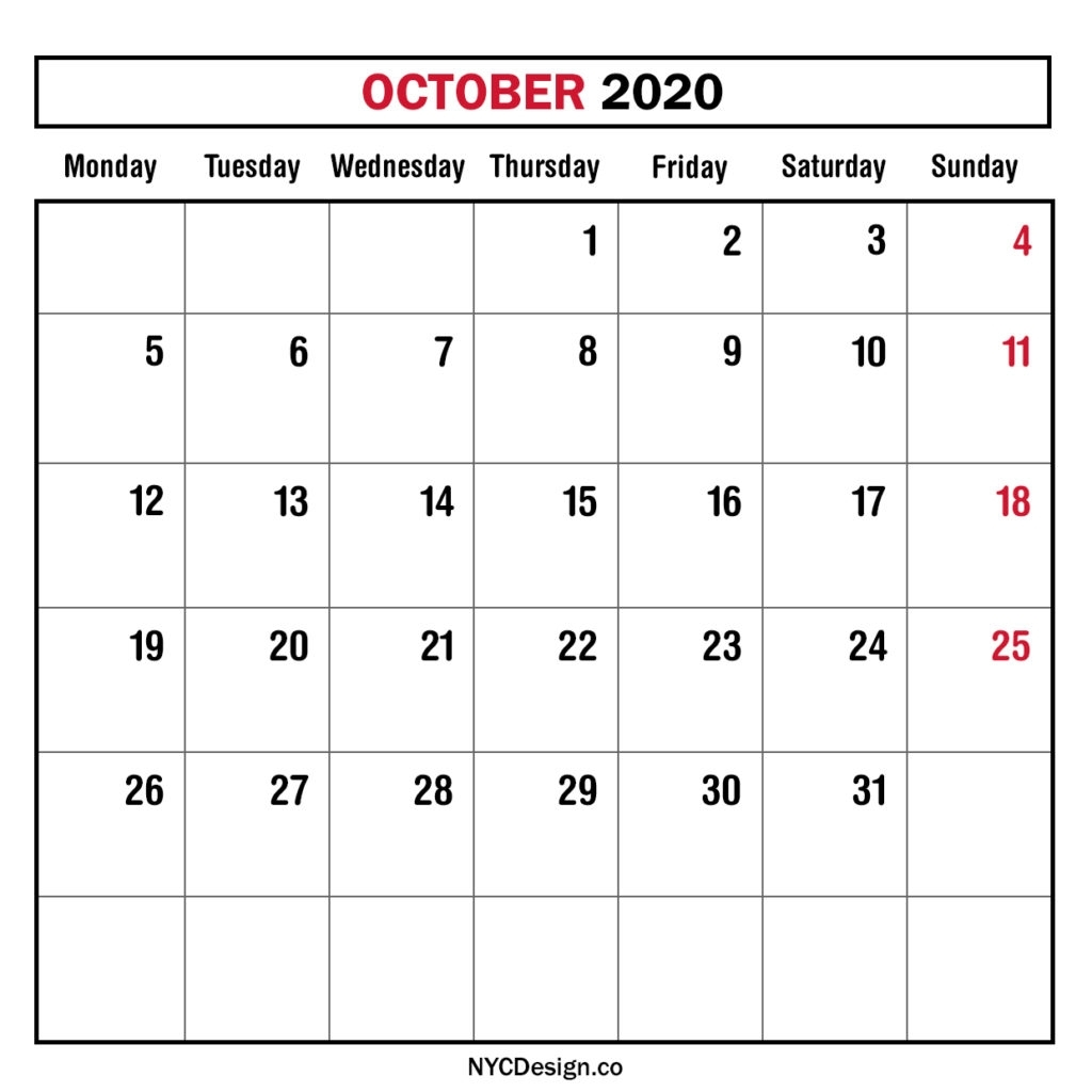 Monthly Calendar October 2020, Monthly Planner, Printable regarding 2020 Monthly Calendar Monday Start Printable