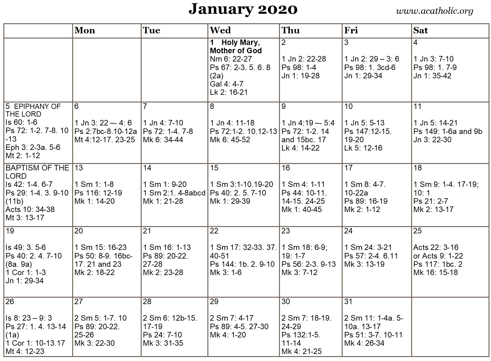 Monthly Calendar Of The Catholic Daily Mass Readings intended for Catholic Lectionary 2020 Printable Calendar