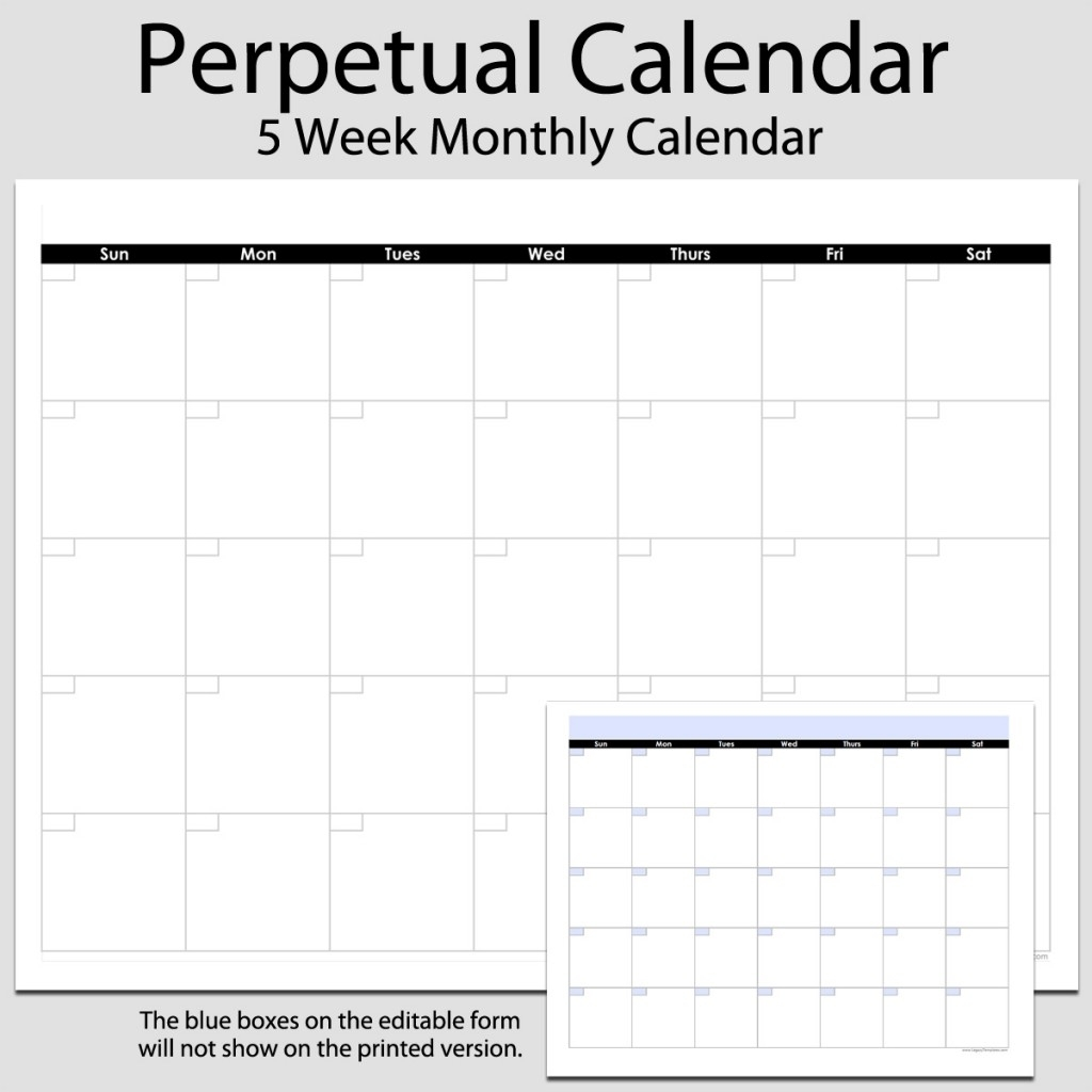 Monthly Perpetual Calendar In Landscape – 8 1/2″ X 11 for 8.5 X 11 Calendar Template