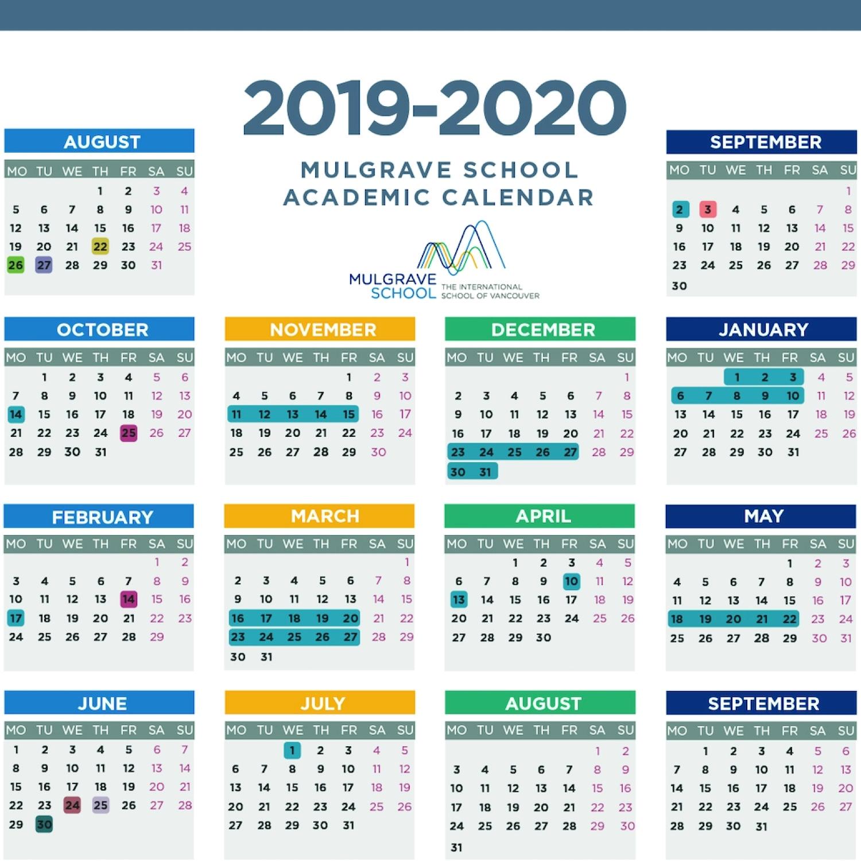 Mulgrave School - Calendars throughout Bc Free 2020 At A Glance Calendar