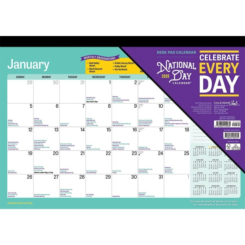 National Day 2020 Desk Pad Calendar throughout Special Days In 2020 Calendar