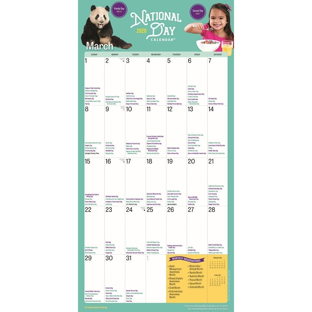 National Day 2020 Wall Calendar with regard to Calendar Of Special Days 2020