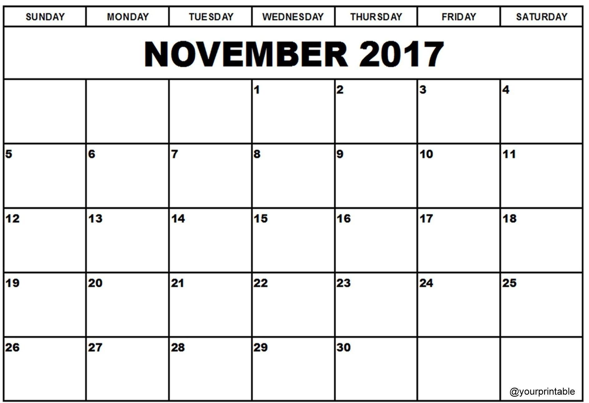 November 2017 Calendar | Calendar 2017, Calendar, November intended for Nov Dec 2017 Calendar Printable