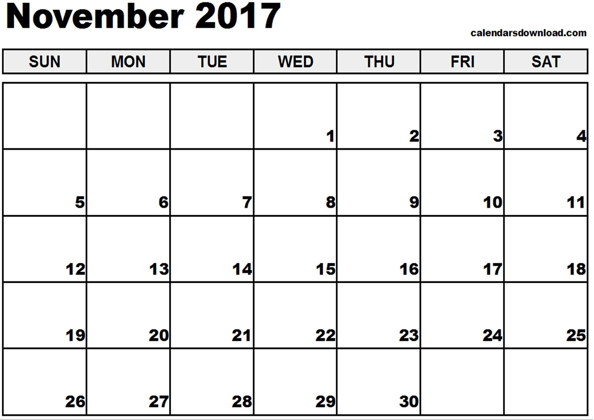 November 2017 Calendar Printable | Templates Free Printable regarding Nov Dec 2017 Calendar Printable