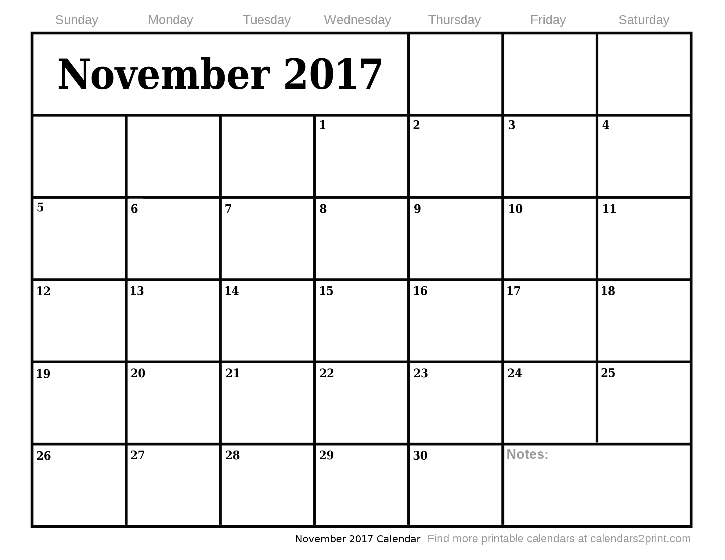 November 2017 Printable Calendar with Nov Dec 2017 Calendar Printable