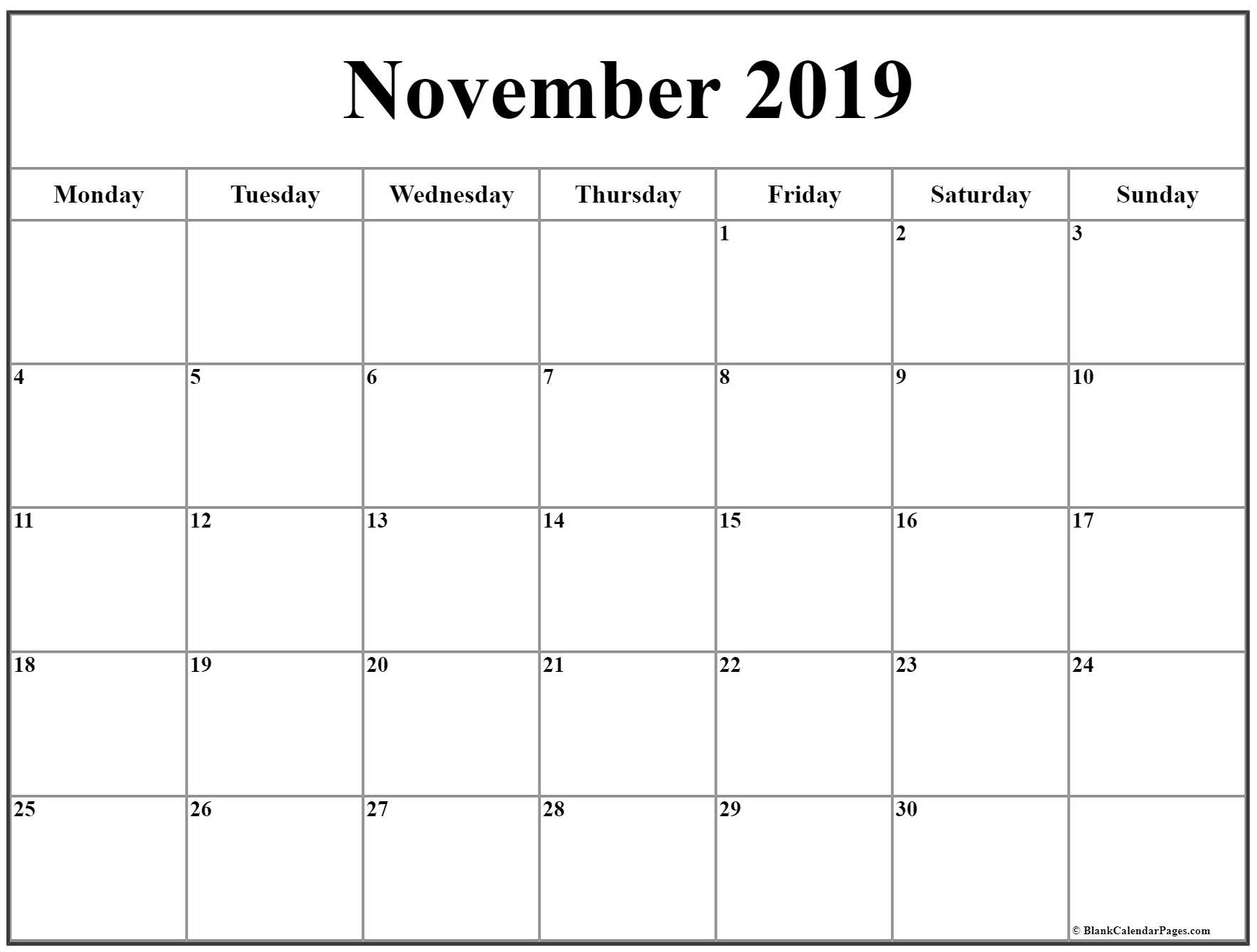 November 2019 Monday Calendar | Monday To Sunday throughout Printable Calendar Monday To Sunday