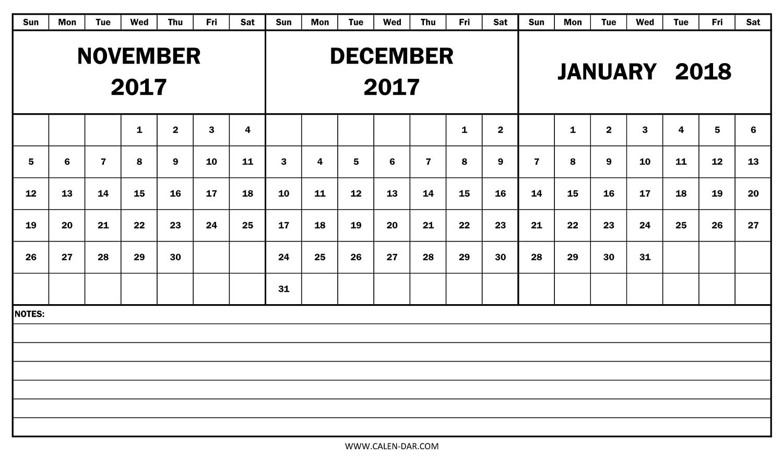 November December 2017 And January 2018 Calendar | 2017 And 2018 in Nov Dec 2017 Calendar Printable