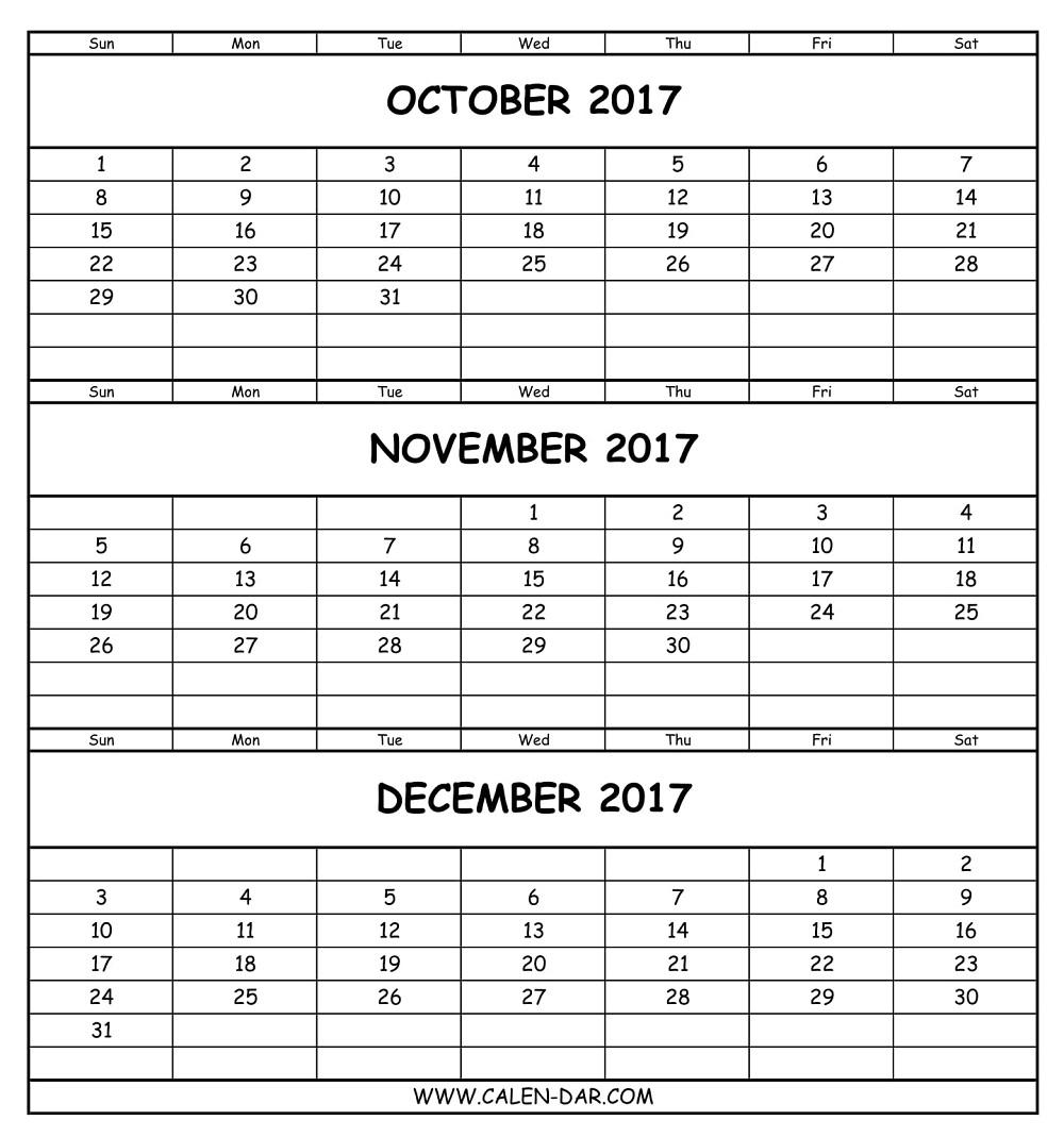 Oct Nov Dec 2017 Calendar Printable | Free 3 Months Calendar pertaining to Nov Dec 2017 Calendar Printable