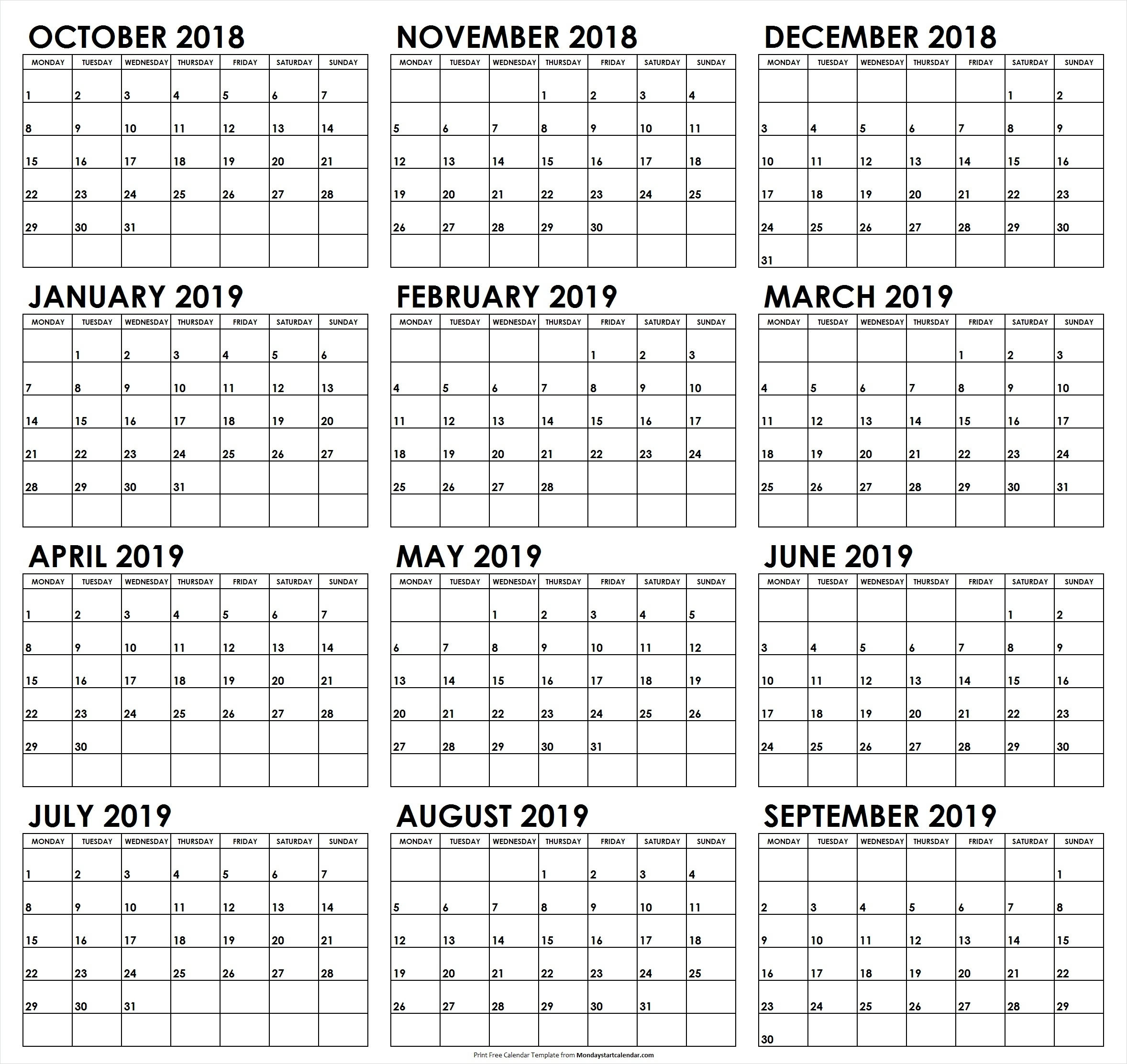 October 2018 To September 2019 Calendar Monday Start within Calendar 2019 Monday To Sunday