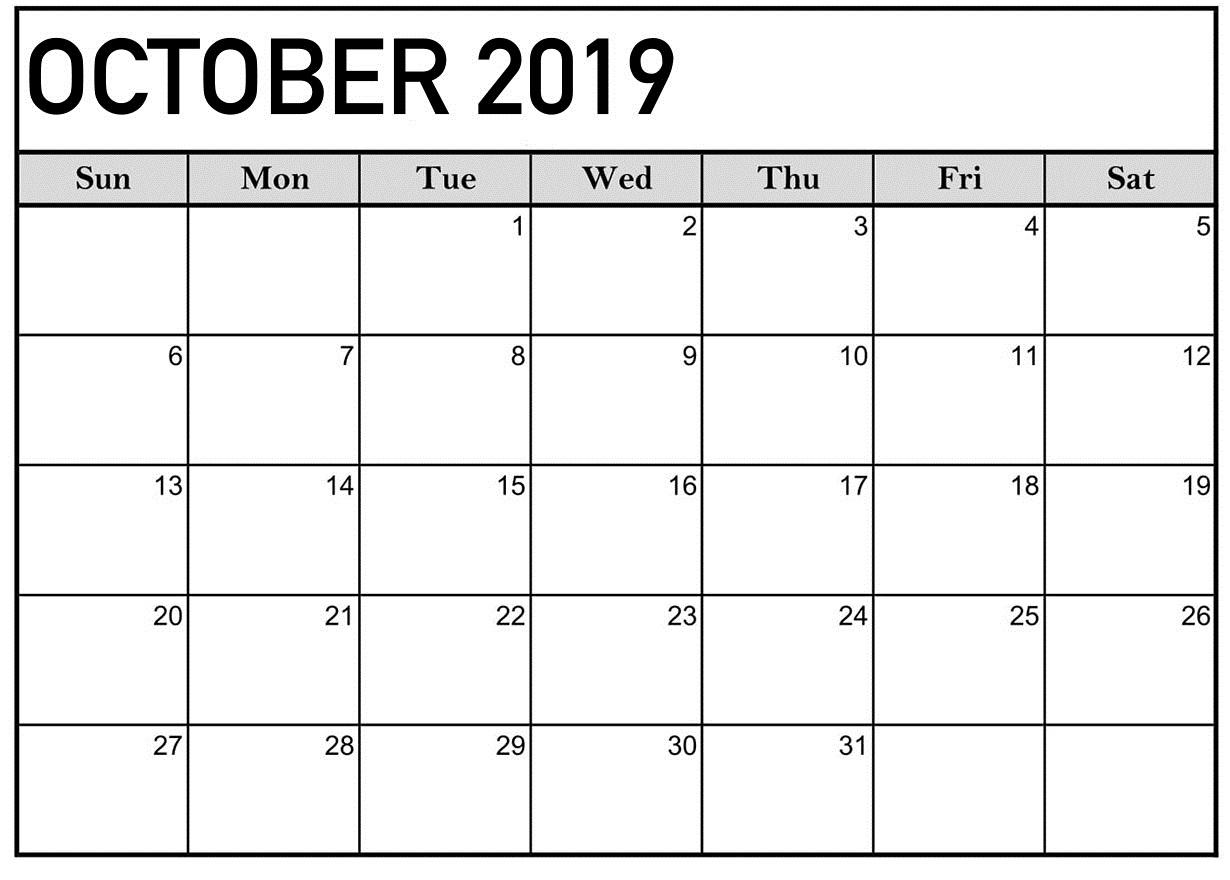October 2019 Calendar Printable Word Template - Latest for Printable Fill In Calendar 2019