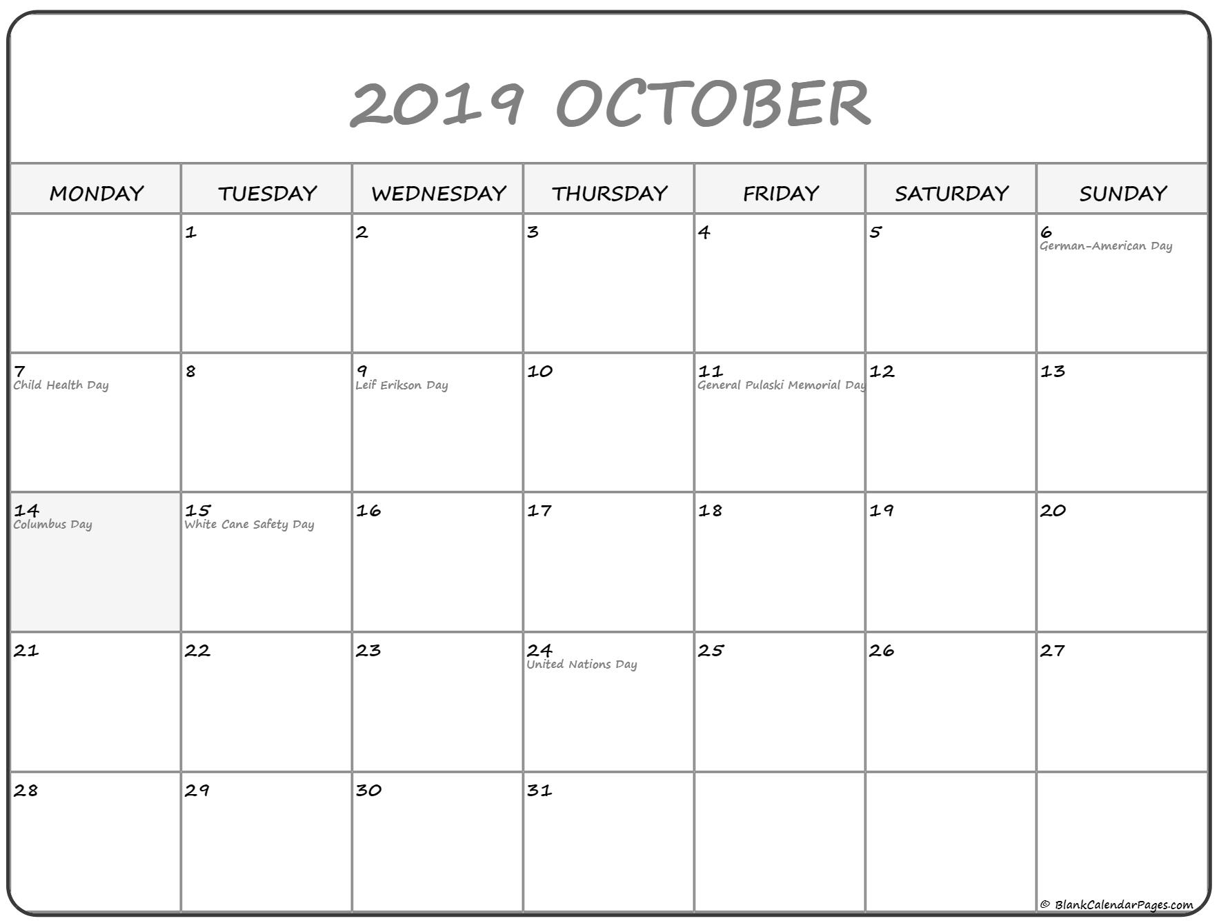 October 2019 Monday Calendar | Monday To Sunday throughout Calendar 2019 Monday To Sunday