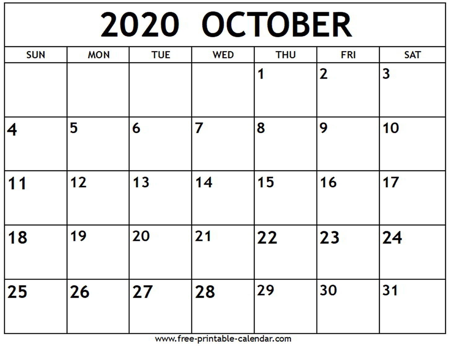 October 2020 Calendar - Free-Printable-Calendar pertaining to 2020 Fill In Calendar Fill In
