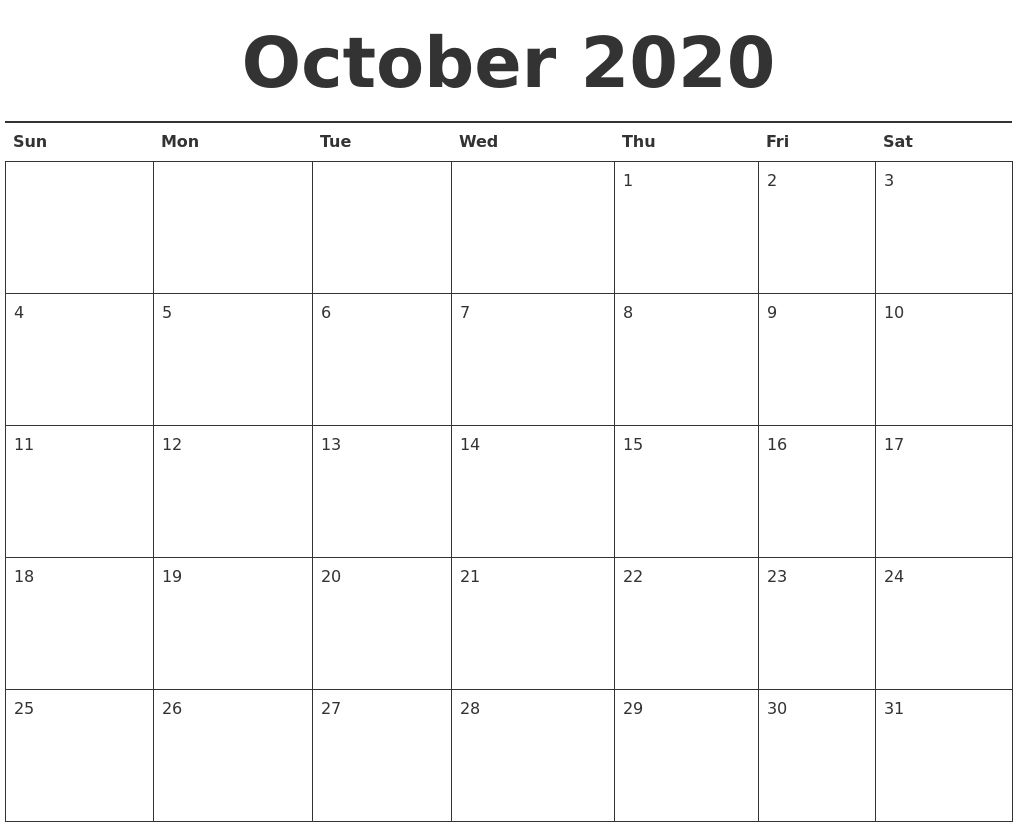 October 2020 Calendar Printable pertaining to 2020 Calendar Printable Monday Sunday
