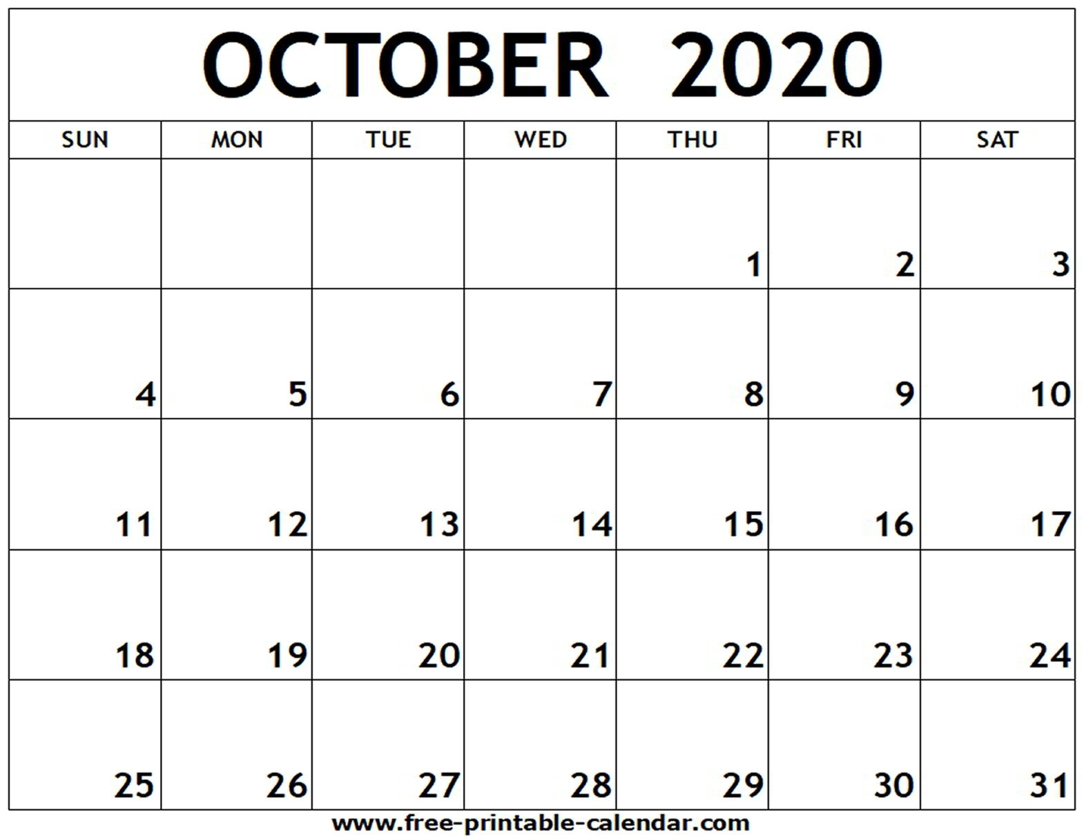 October 2020 Printable Calendar - Free-Printable-Calendar in 2020 Fill In Calendar Fill In