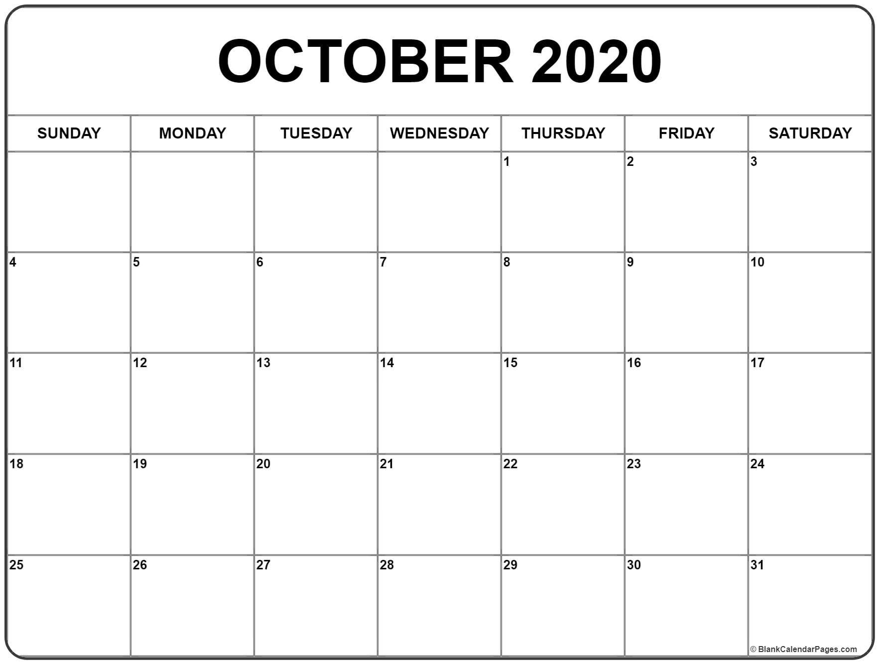 October Blank Calendar 2020 - Colona.rsd7 intended for Blank Fill In Calendar 2020