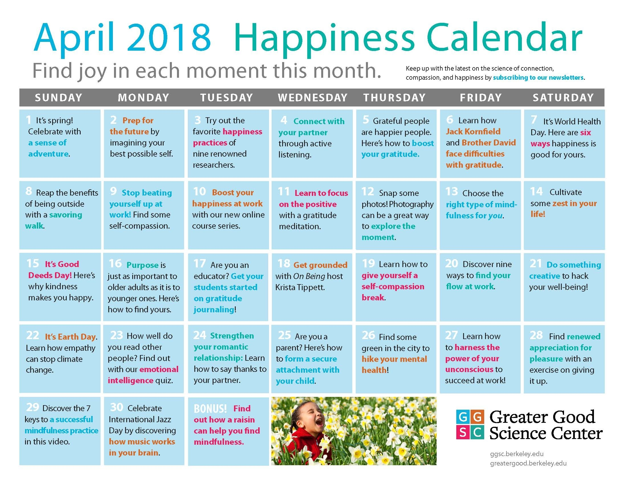 Our April Happiness Calendar Is Here! | Ggsc intended for Uc Berkeely 2020 Spring Semester Months