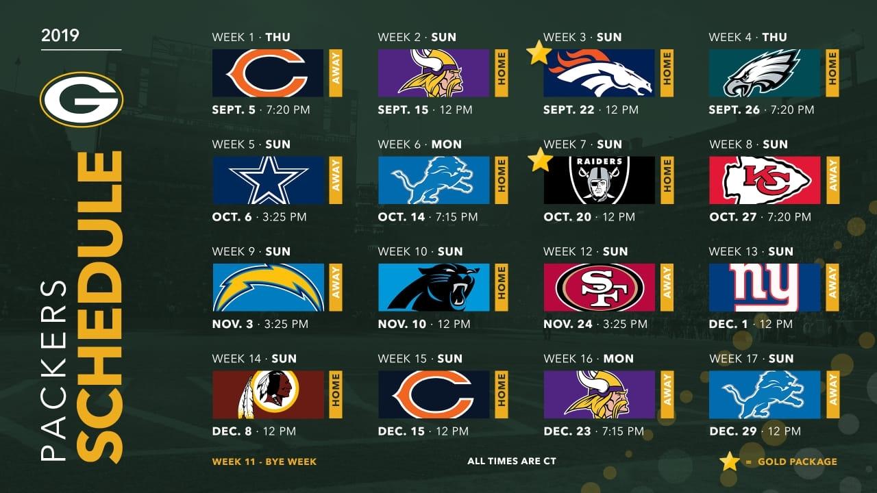 Packers Announce 2019 Schedule in Printable Nfl Schedule 2019 2020 Season