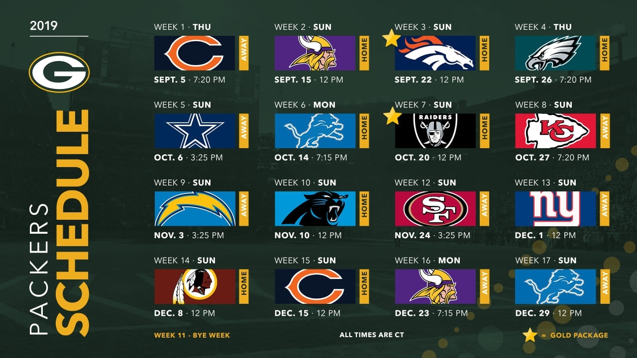 Packers Announce 2019 Schedule pertaining to Seahawks 2019 2020 Schedule Printable