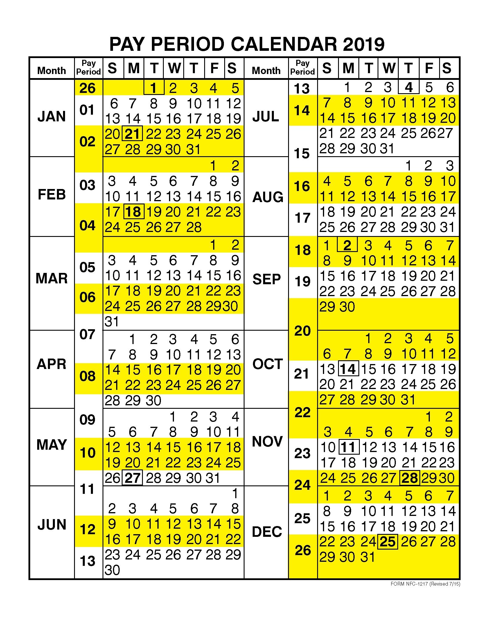 Pay Period Calendar 2019Calendar Year | Free Printable for 2020 Federal Pay Period Calendar Printable