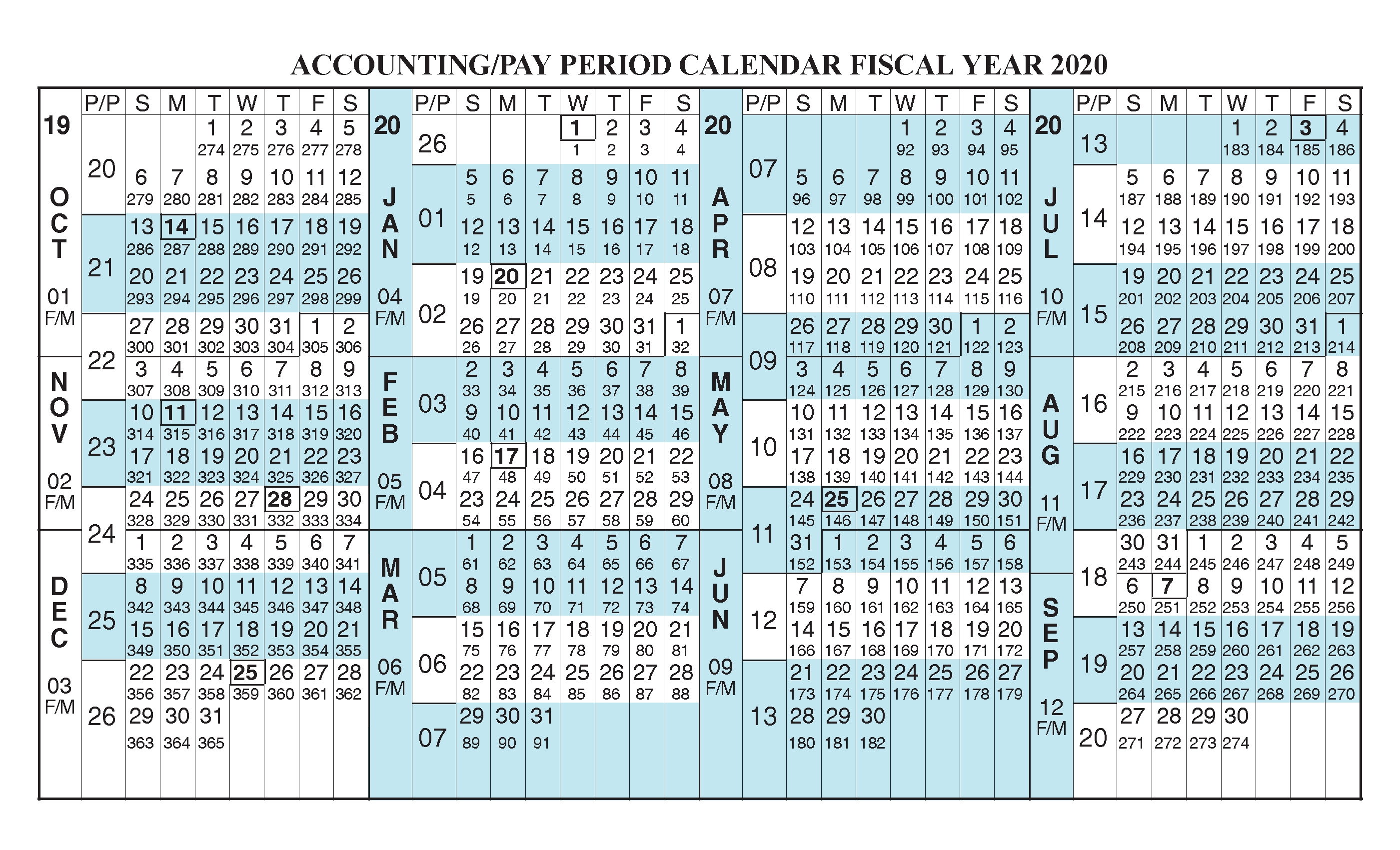 Payroll Calendar 2020 Fiscal Year Calendar [ Oct 2019 - Sep for 2020 Federal Pay Period Calendar Printable