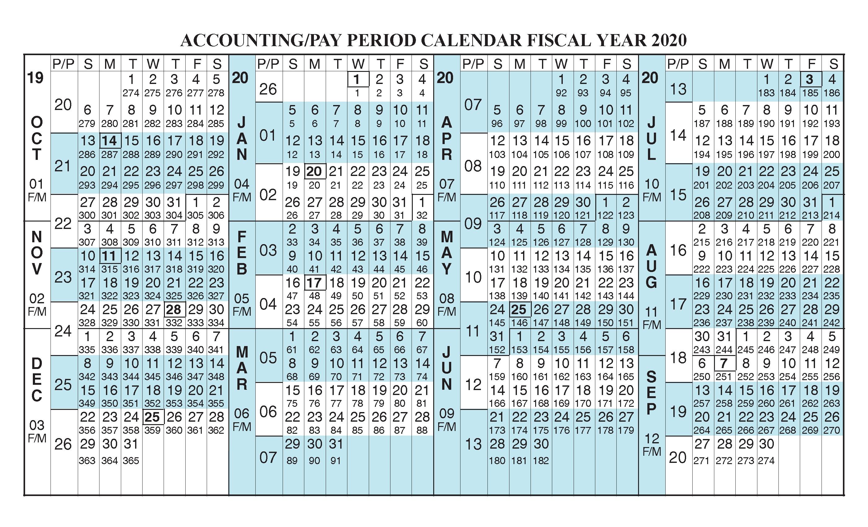 Payroll Calendar 2020 Fiscal Year Calendar [ Oct 2019 - Sep with Fiscal Calander 2020 Week Numbers