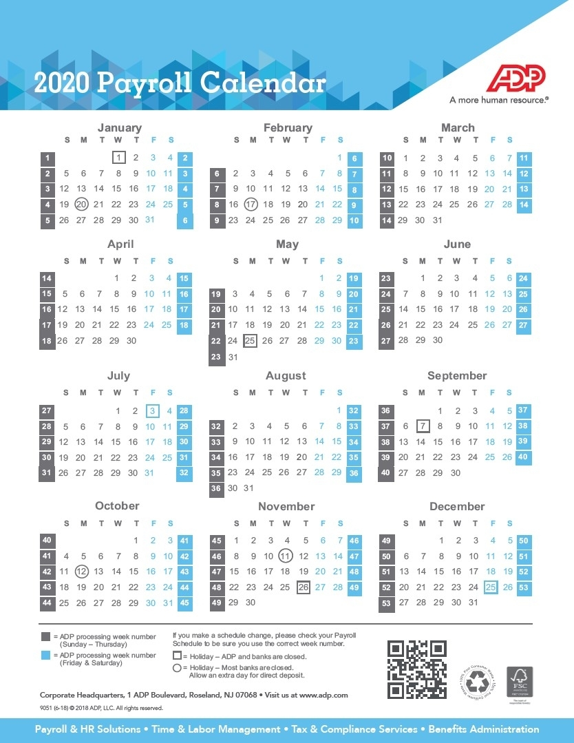 Payroll Calendar 2020 | Weekly, Biweekly, Semi-Monthly throughout Federal Government Pay Period Calendar 2020