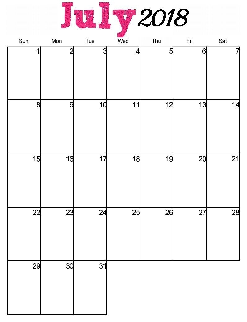 Pinprintable Calendar On Calendar July 2018 | Blank in Printable Calendar With Space To Write