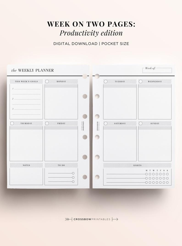 Pocket Printable Week On Two Pages Printable Inserts, Printable Weekly  Inserts For Pocket Size Planners, Filofax Pocket, Kikki K Small Lv Pm within Pocket Size Calendar Free Printable