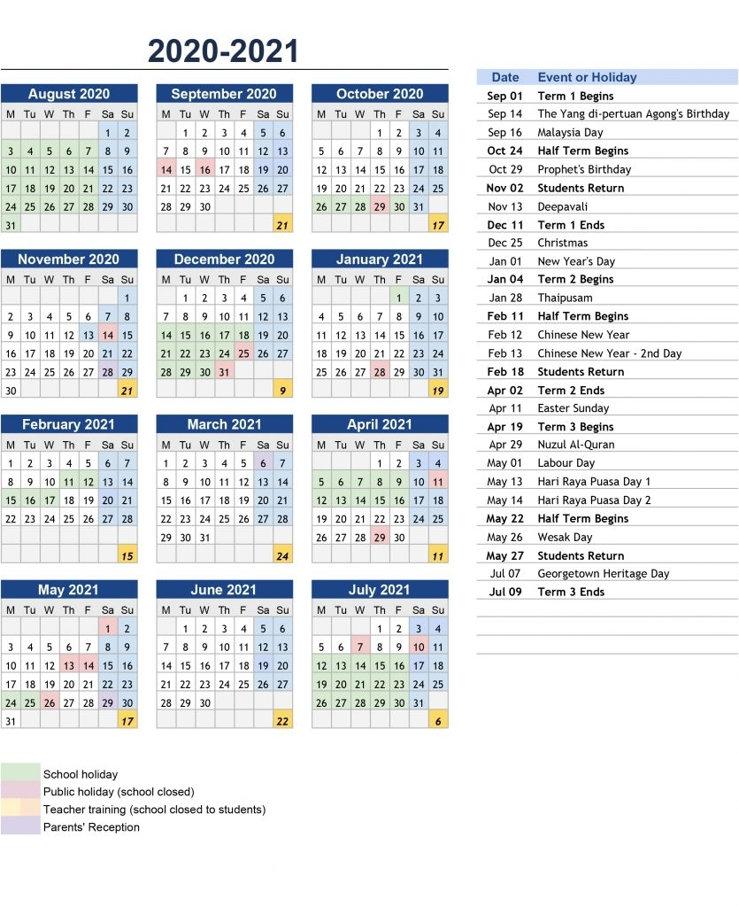 Prince Of Wales Island International School Penang | Term inside Pshe Special Days Calendar 2019/2020