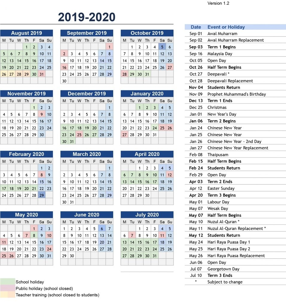 Prince Of Wales Island International School Penang | Term regarding Pshe Special Days Calendar 2019/2020