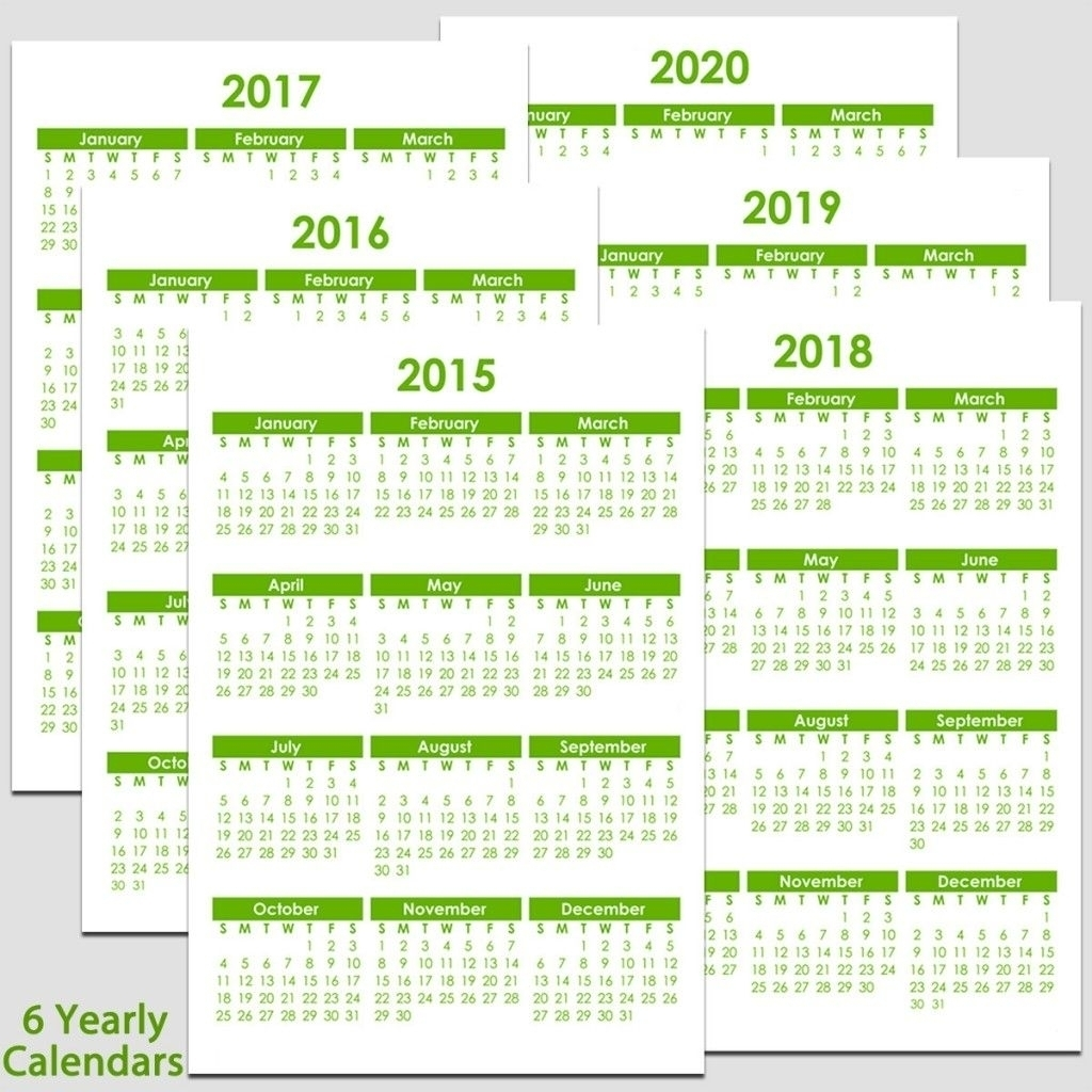 Printable 2015 To 2020 Yearly Calendar – 8 1/2″ X 11″. The with regard to Promotional One Page Year Calendars 8.5 X 11