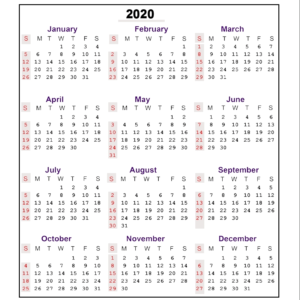 Printable 2020 Calendar With Week Numbers | Monthly for Fiscal Calander 2020 Week Numbers