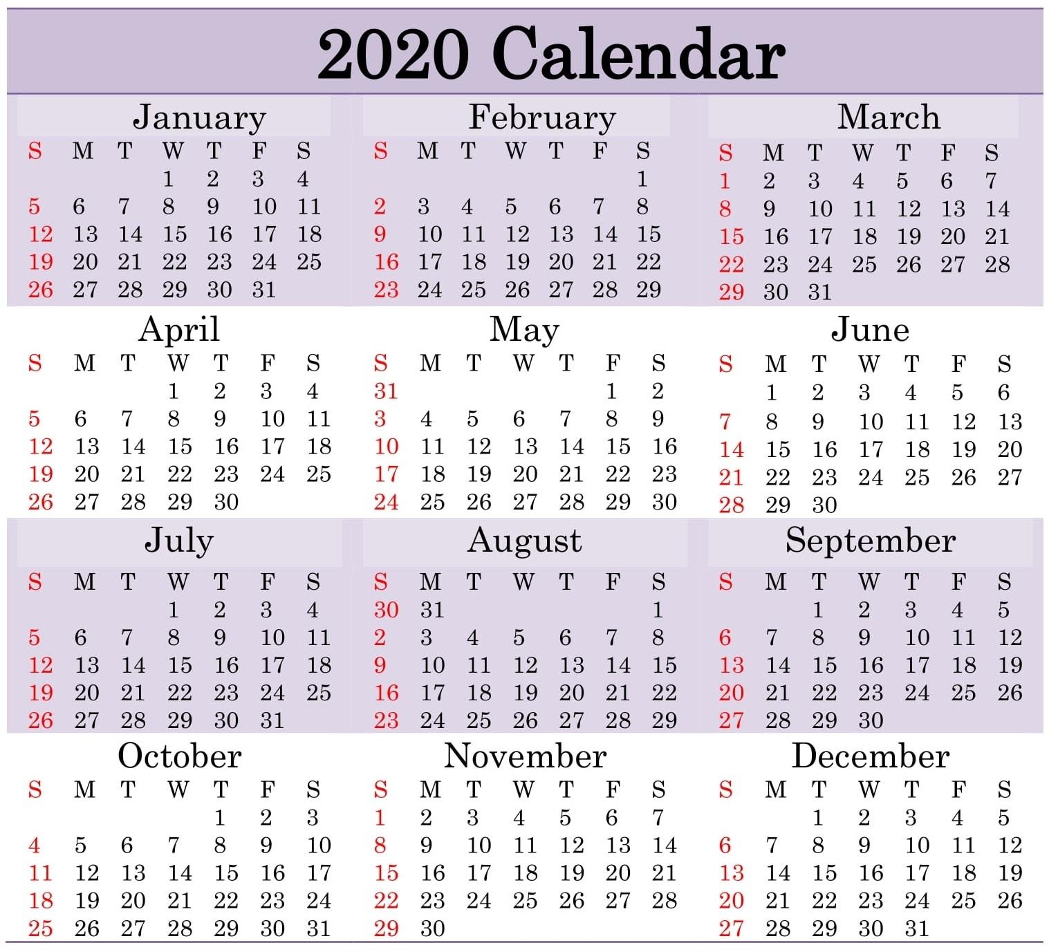 Printable 2020 Calendar Word Document - Latest Printable with regard to Julian Calendar Leap Year Printable