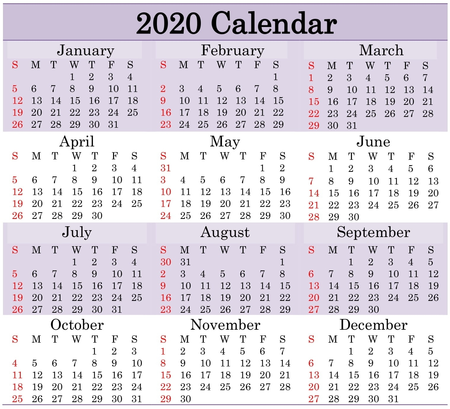 Printable 2020 Calendar Word Document - Latest Printable within 2020 Yearly Calendar With Julian Dates